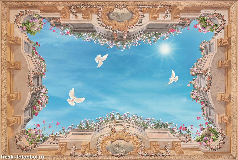 Фотообои «Белые голуби в небесах»