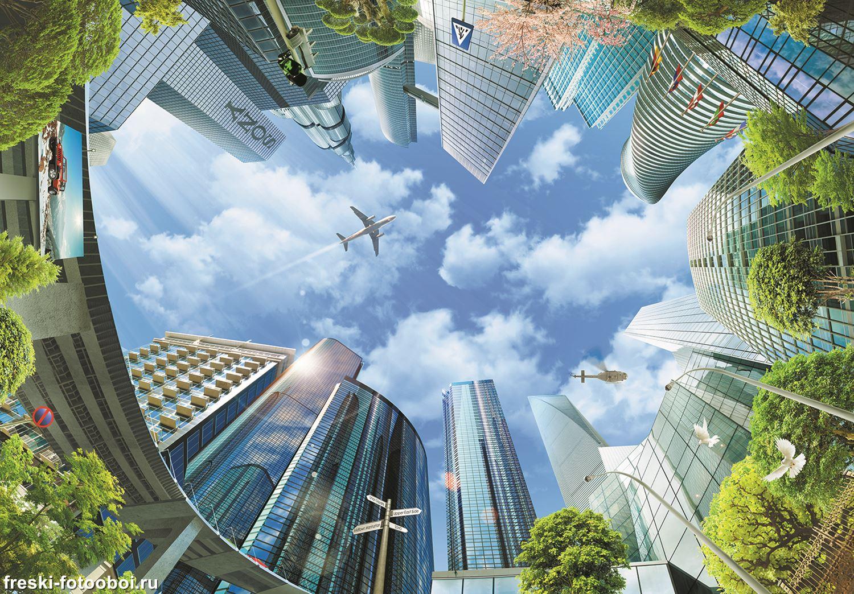 Фотообои «Полёт над небоскрёбами»
