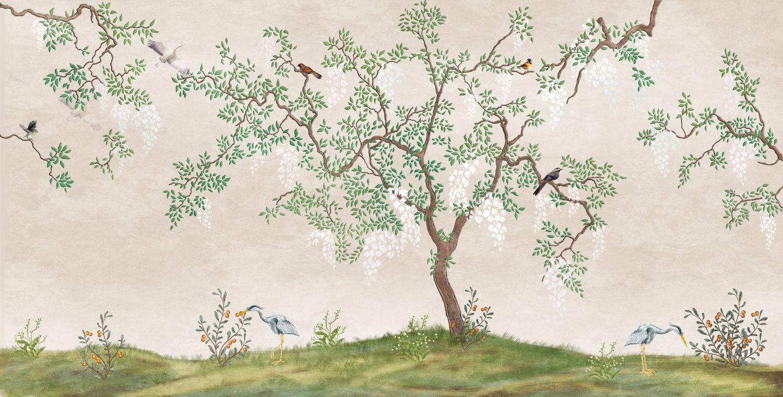 Фотообои «Дерево и разные птицы»