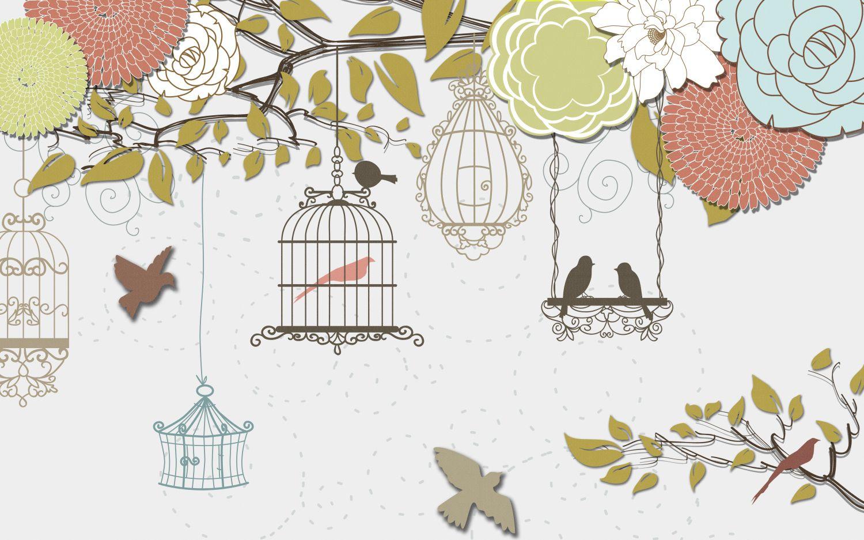 Фрески «Аппликация цветы птицы»