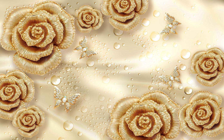 Фотообои «Розы с каплями золото»