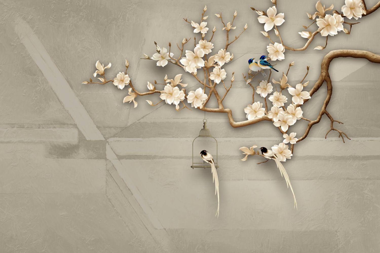 Фотообои «Шинуазри дерево с птицами»