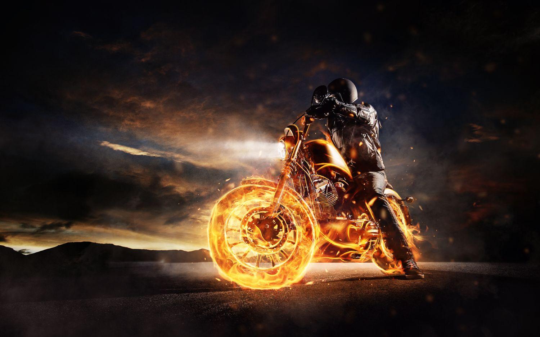 Фотообои «Огненный мотоцикл»