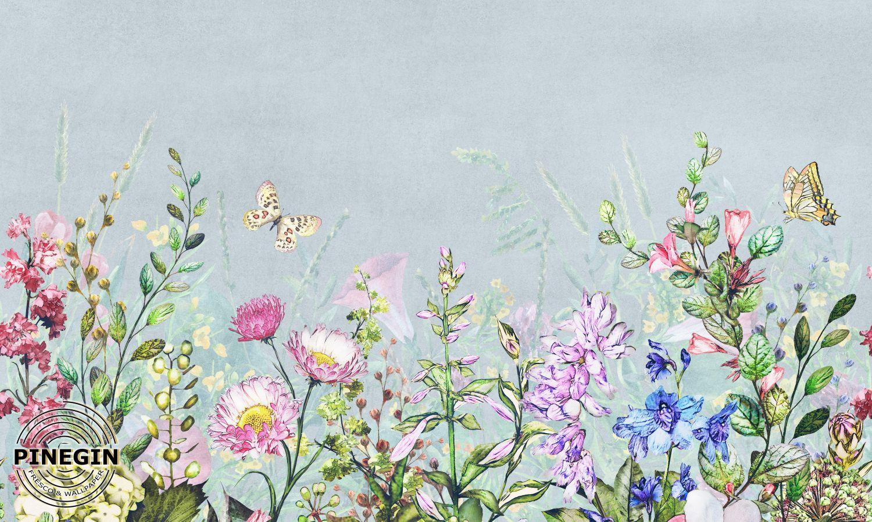 Фотообои «Полевые цветы и бабочки»