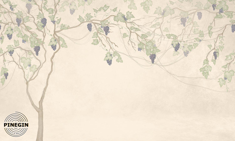 Фрески «Виноградное дерево на бежевом фоне»