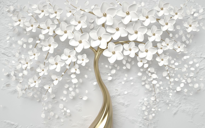 Фотообои «Белое цветущее дерево»