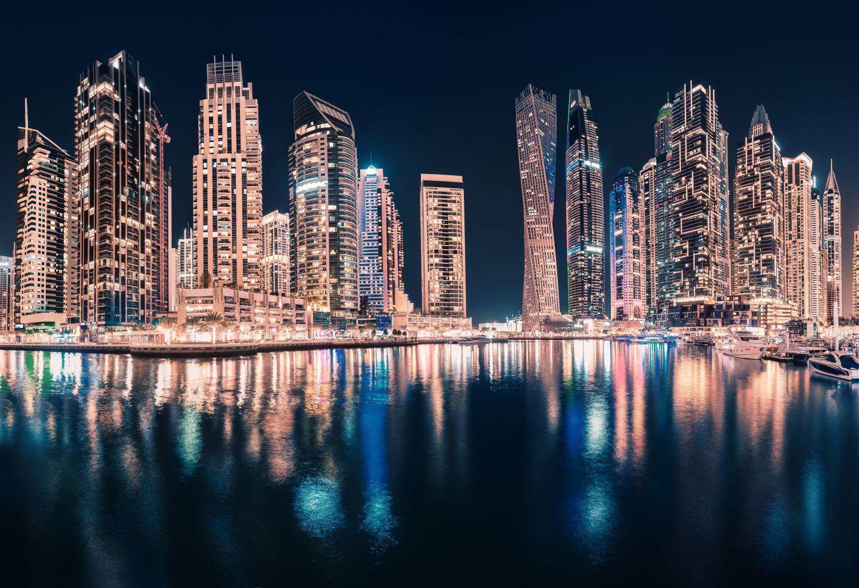 Фрески «Огни мегаполиса отражение»
