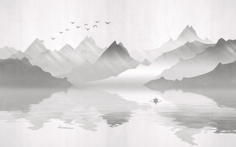 Фотообои «Одинокий рыбак в лодке»