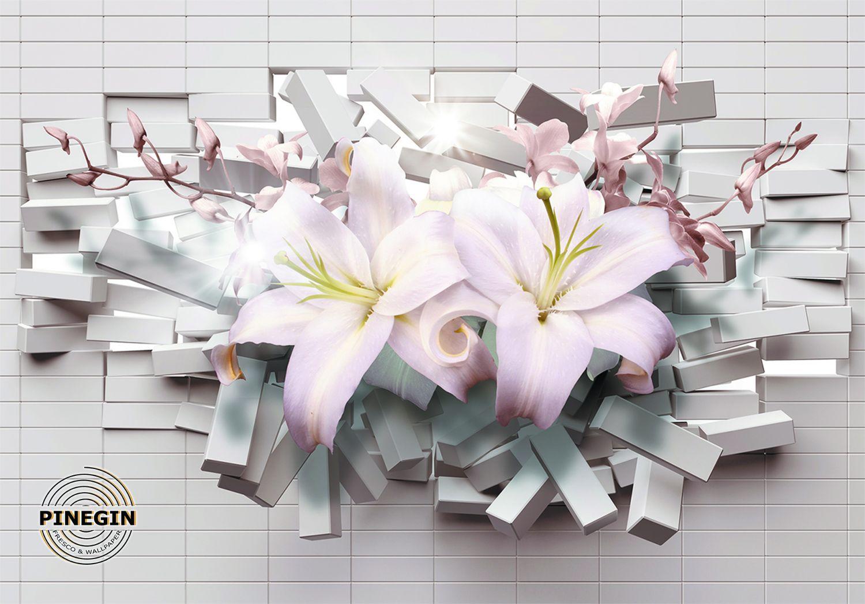 Фотообои «Две лилии в кирпичной стене»