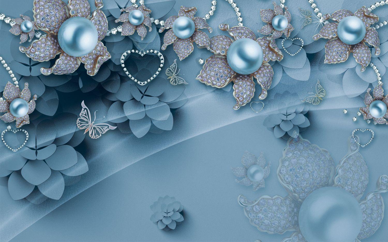 Фотообои «Роскошные цветы на вечернем голубом»