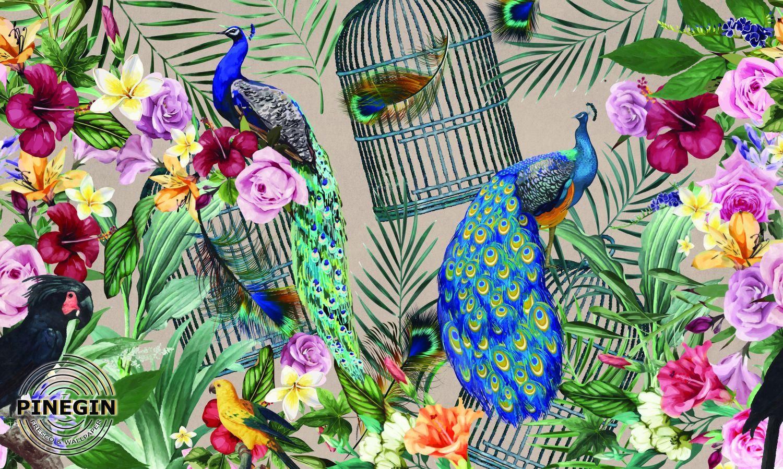 Фотообои «Павлины в цветах»