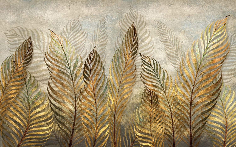 Фотообои «Золотистые листья»