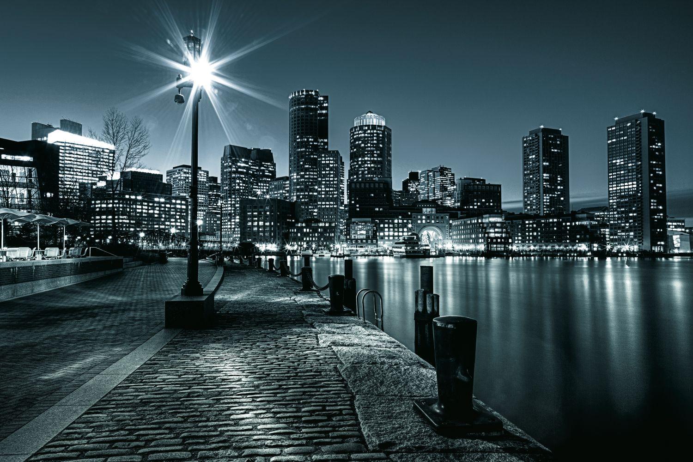 Фотообои «Ночь, фонарь, огни»