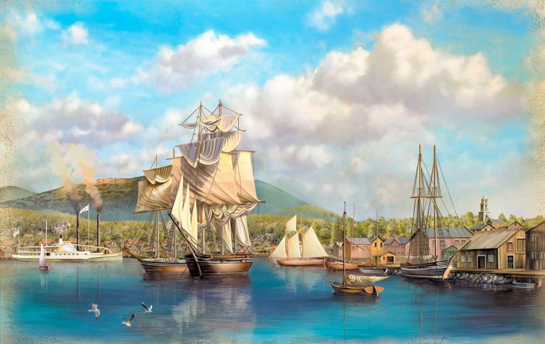Фотообои «Торговые судна в порту»