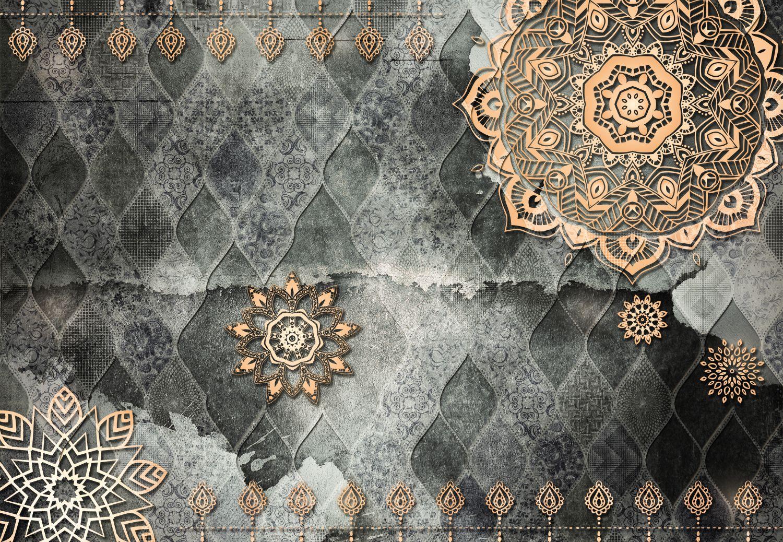 Фотообои «Тёмно-серый арабский орнамент с золотыми элементами»