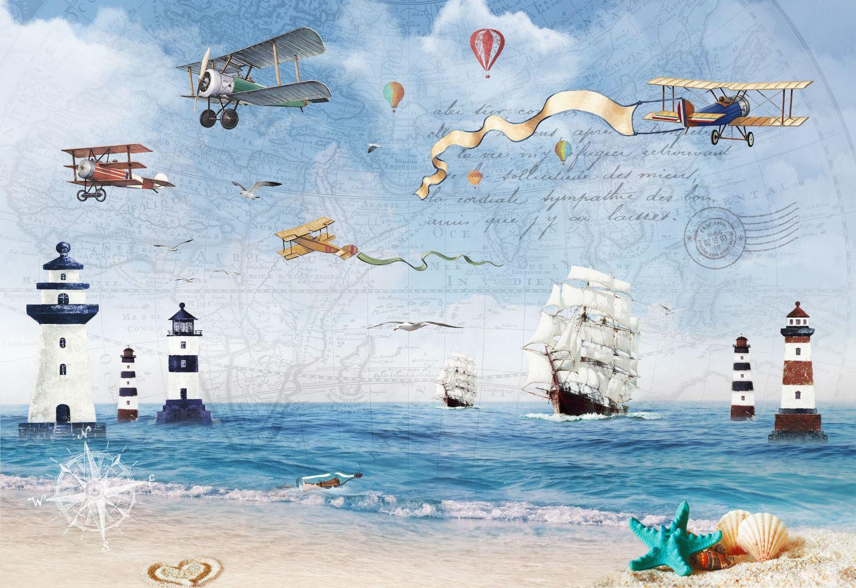 Фрески «Море, корабли и самолеты»