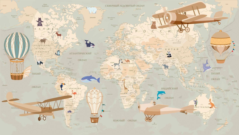 Фотообои «Карта в пастельных тонах»