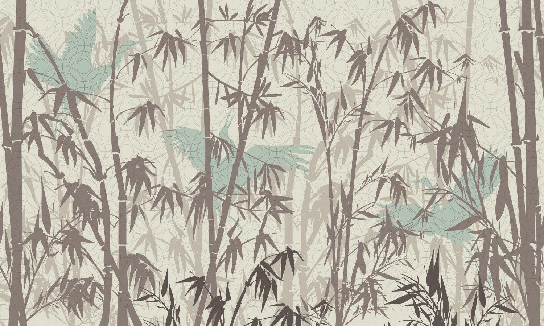Фотообои «Деревья и журавли винтаж»