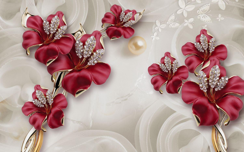 Фрески «Бордовые цветы с камнями»