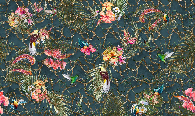Фотообои «Колибри в цветах»