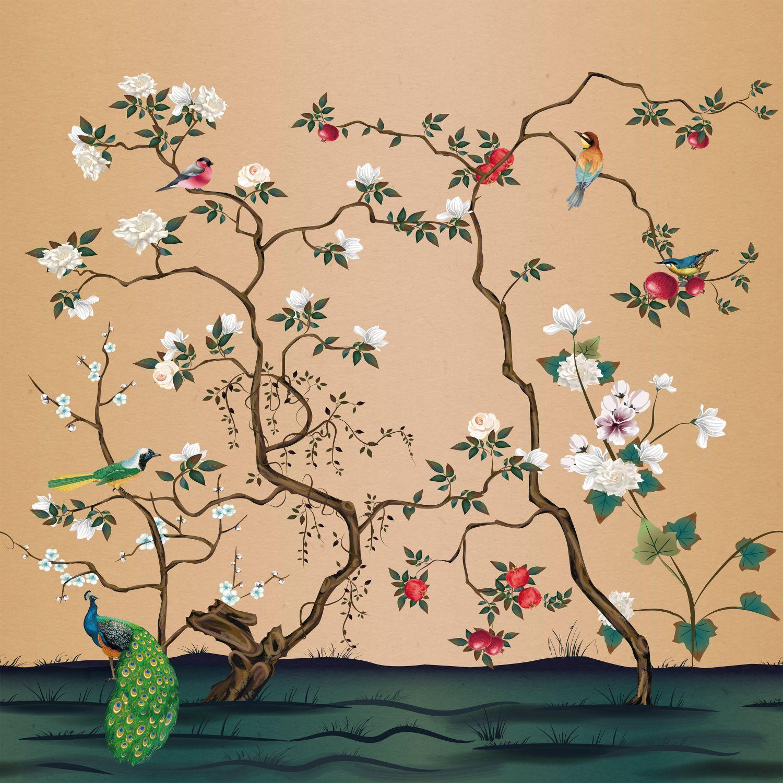 Фрески «Шинуазри гранат и роза »