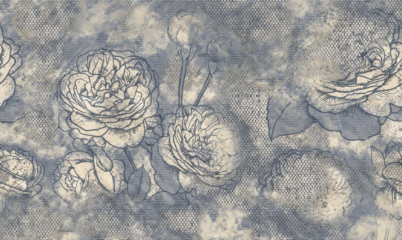 Фрески «Стилизованные серые розы»