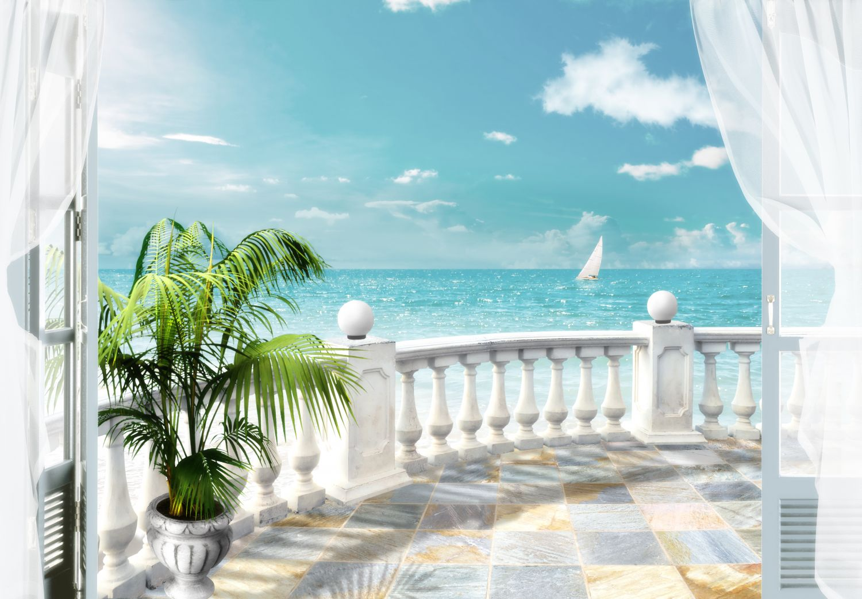 Фотообои «Балкон и океан»