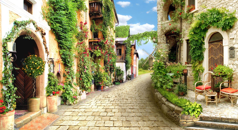 Фотообои «Зеленая улочка где-то в Италии»