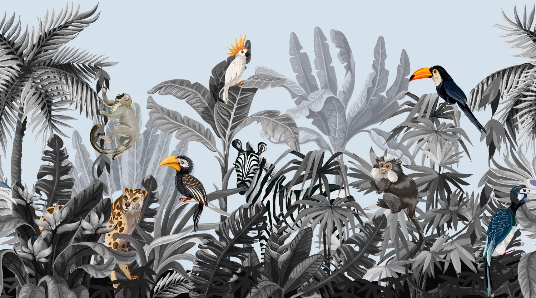 Фотообои «Птицы и хищники в джунглях»