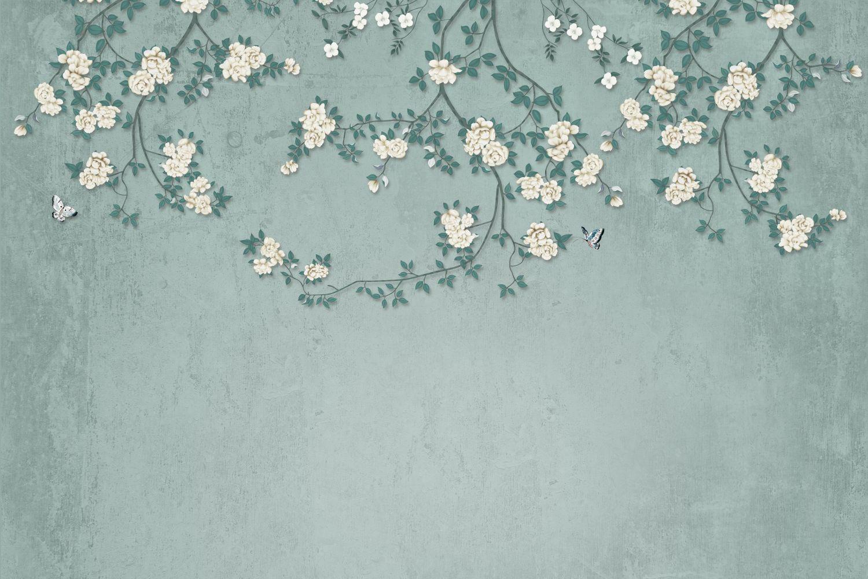 Фотообои «Шинуазри цветущие белым»