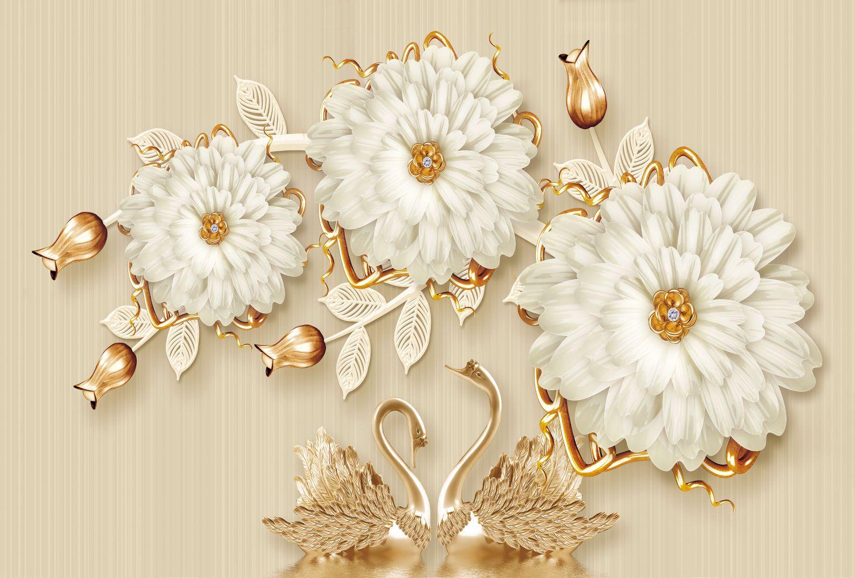 Фотообои «Золотые лебеди под белыми хризантемами»
