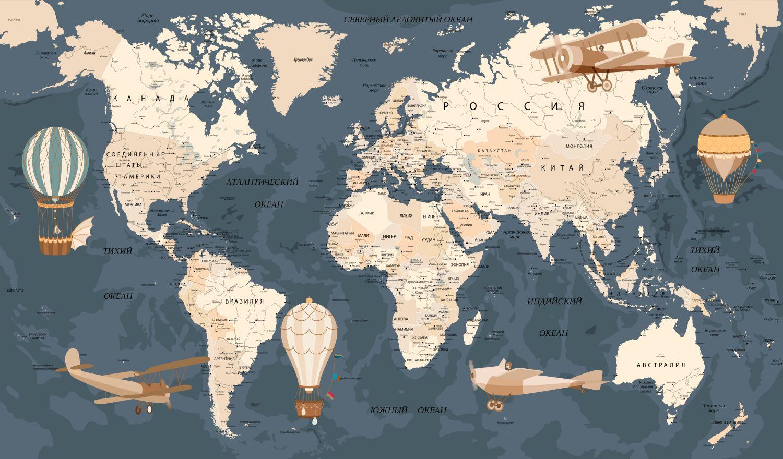 Фотообои «Карта темный фон»