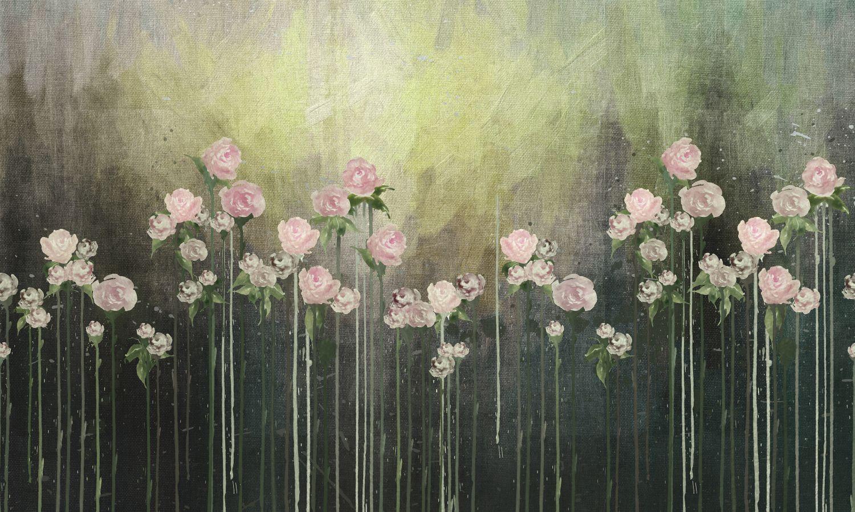 Фрески «Цветы в воде акварель»