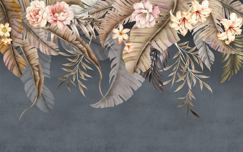 Фотообои «Листья с цветами»