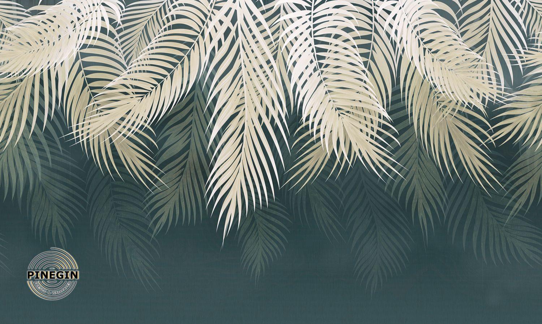 Фотообои «Листья на темно-зеленом фоне»