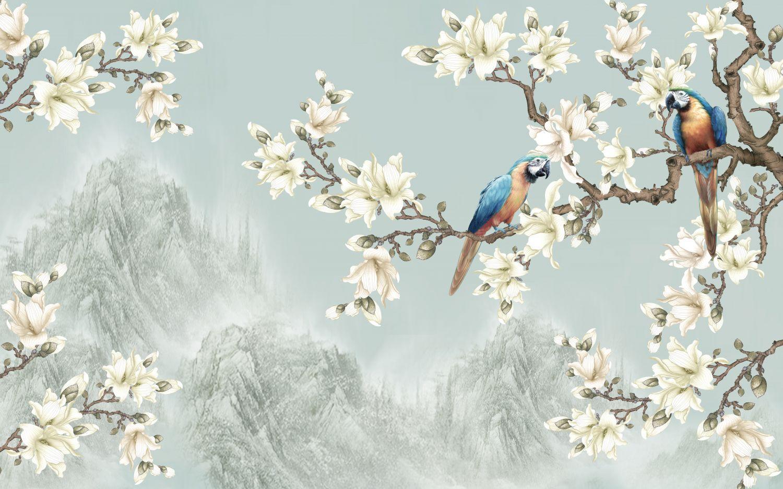 Фотообои «Шинуазри беседа попугаев»