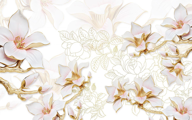 Фотообои «Красивые белые цветы»