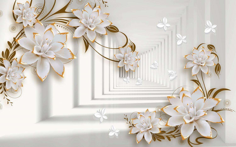 Фотообои «Белые цветы и туннель»