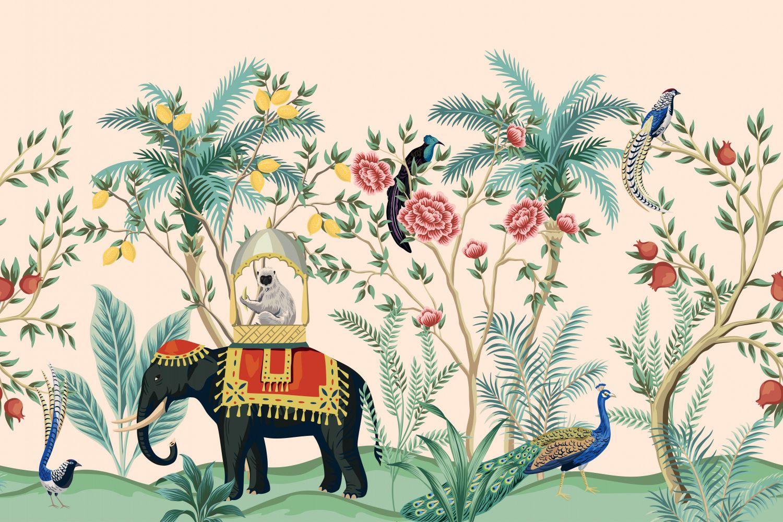 Фотообои «Шинуазри слон в саду»