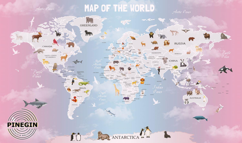 Фотообои «Карта мира для девочки»