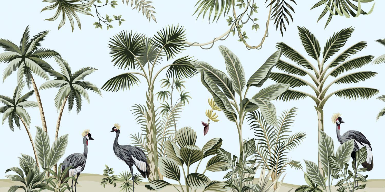 Фотообои «Пальмы и птицы»
