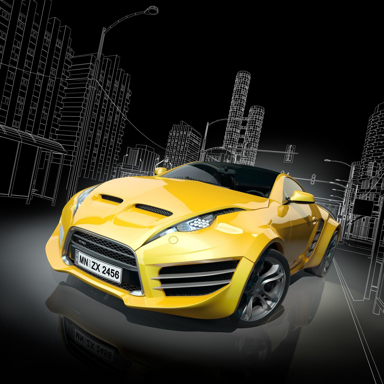 Фотообои «Желтая машине и графика»