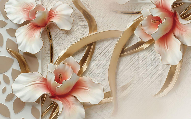 Фотообои «Белые цветы с золотым обрамлением »