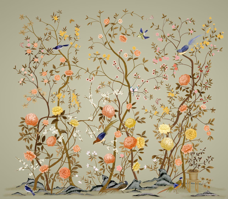 Фотообои «Шинуазри цветущий сад»