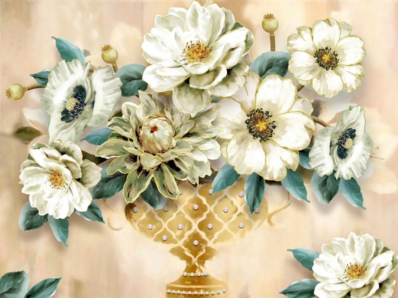 Фотообои «Ваза с цветами пионов »