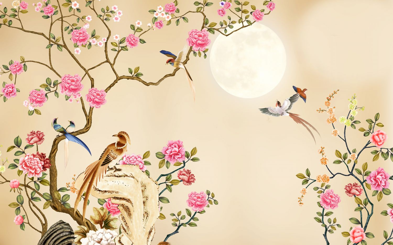 Фотообои «Шинуазри луна сквозь цветы»