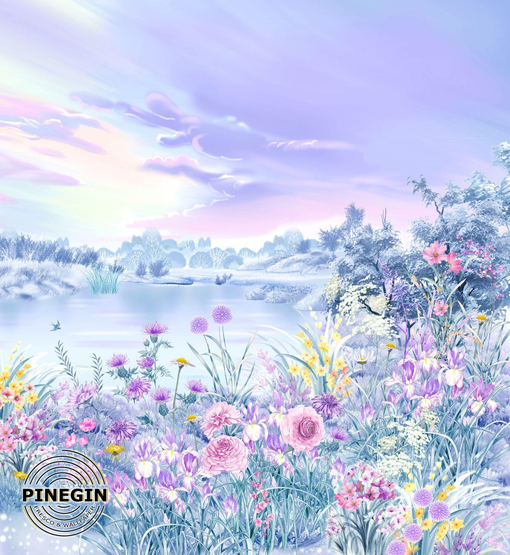 Фотообои «Цветы у реки»