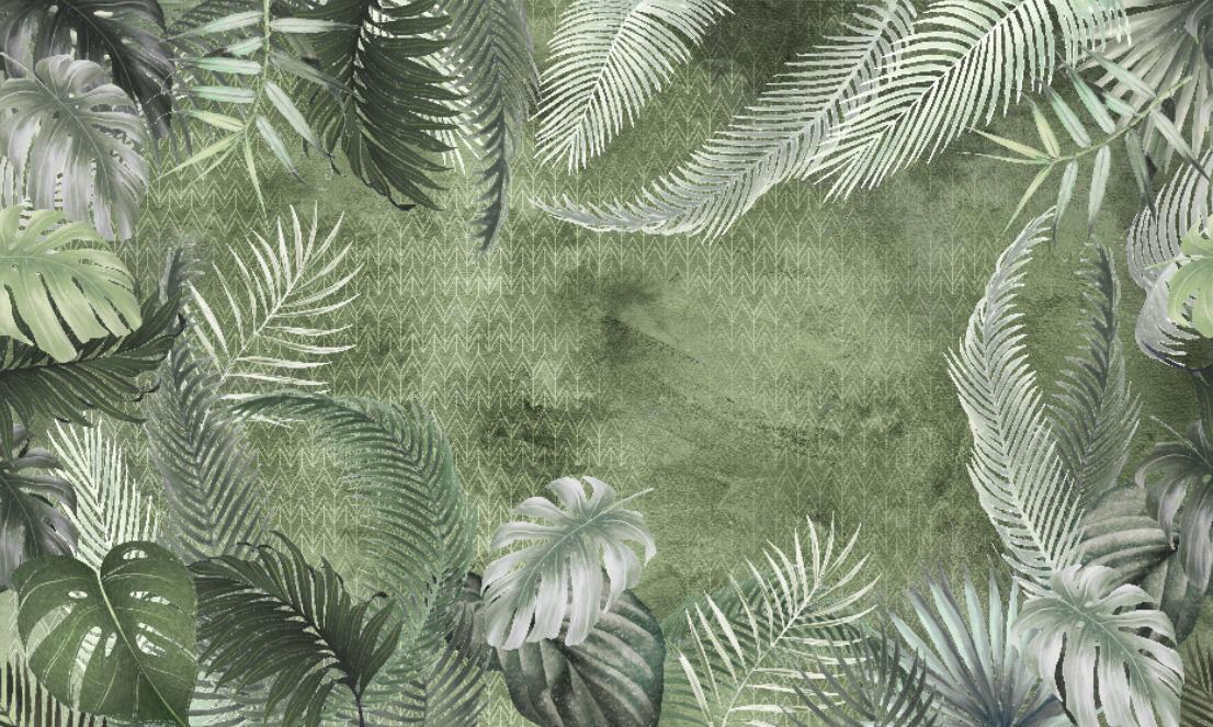Фотообои «Зеленые тропические листья»
