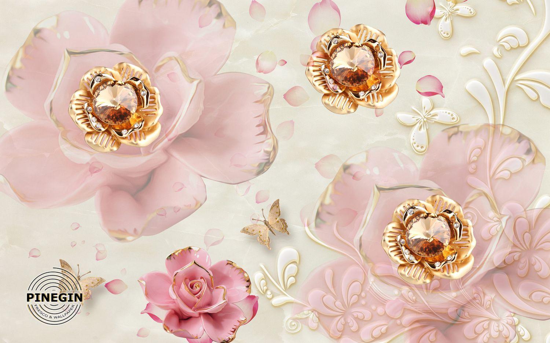 Фотообои «Розовые цветы с камнями»