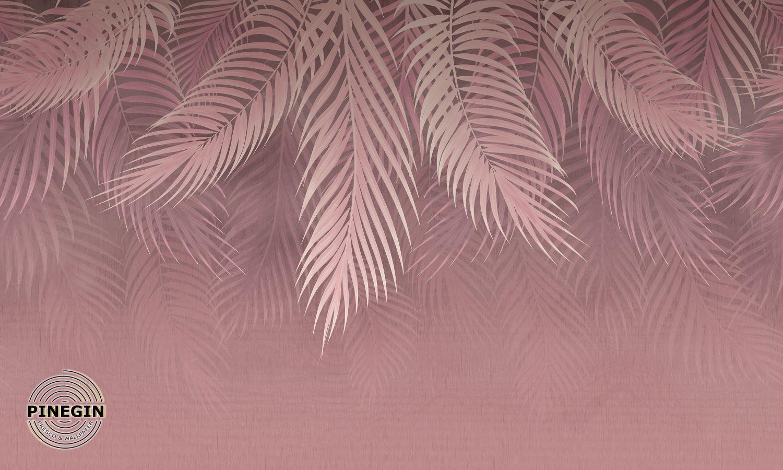 Фотообои «Розовые пальмовые листья»